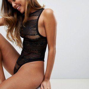 NEW - Asos High Neck Minimal Lace Bodysuit